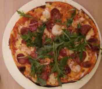 pizza prawn chorizo rocket chilli