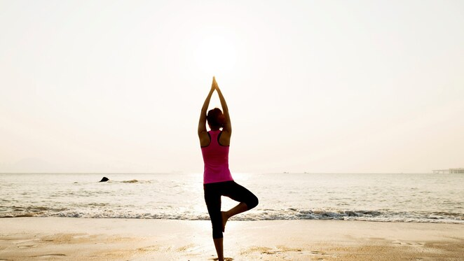 sole,person,yoga,stance,beach,inner,smile,pose
