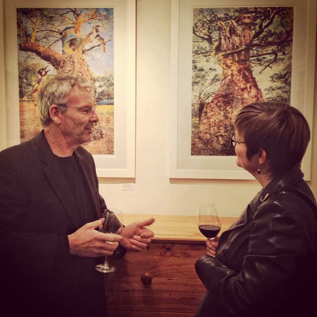 Brian Kowald and guest at the opening of his exhibition The Money Tree