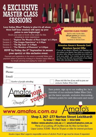Amatos liquor mart, wine tasting, italian wines in sydney, wine festivals,