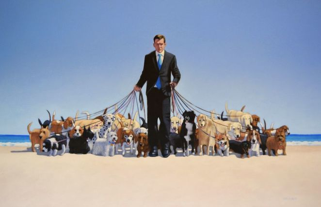 andrew baines, art, art exhibition, Dachshunds, adelaide, exhibition, dogs, short, walking the dog