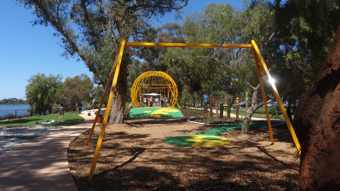 Bibra Lake, Adventure Parks Cockburn, playgrounds south of Perth, flying fox, bests playgrounds in Perth, accessible playground.