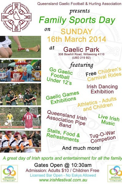 brisbane irish festival, st patricks day parade, queensland irish festival, St Patrick's Festival Family Sports Day