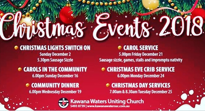 Christmas Church Services, Sunshine Coast, Caloundra Church of Christ, Dicky Beach, C3 Church Kawana Waters, Goodlife Community Church, Buderim, Christmas Day BYO picnic lunch, Cotton Tree, Immanuel Lutheran Church, Kawana Life Baptist Church, Warana, BBQ, Kawana Waters Uniting Church, Bokarina, Lifepointe Baptist Church, North Buderim, Christmas at Lifepointe, Maroochydore Uniting Church, St Peter's Anglican Parish of Maroochydore