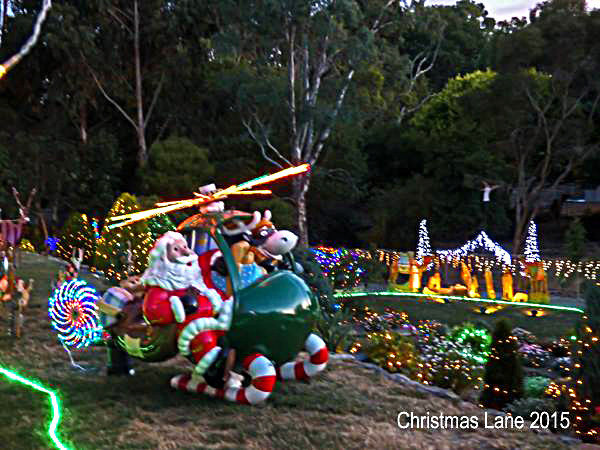 Christmas, lights, display, pegandbill, Lobethal, 2016, Santa, helicopter
