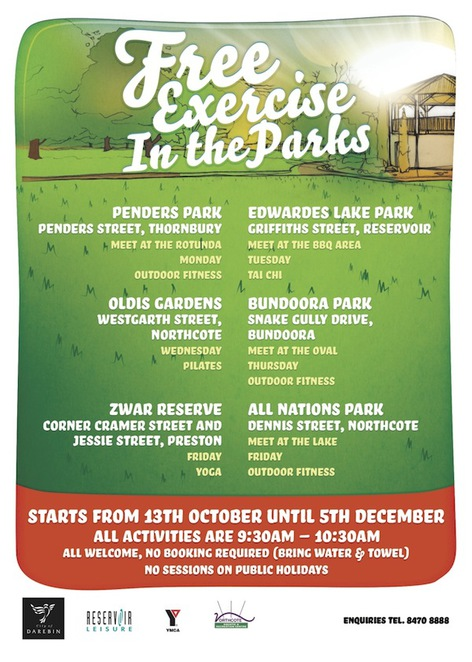 Free Exercise in the Park Darebin Spring