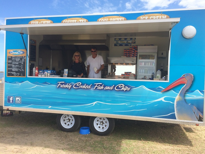 Heather and Peter Oliver with their 'Coorong Cafe' food van.