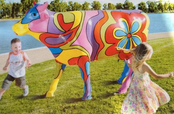 Moooving,moving,art,painted,cows,installation,shepparton,district