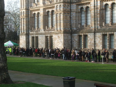 Queuing at the Natural History Museum, London