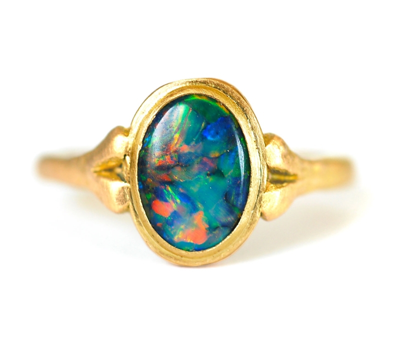 Opal Ring With Pink Sapphires