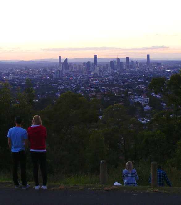 Enjoying the sunset view from the Lookout on Mt Gravatt