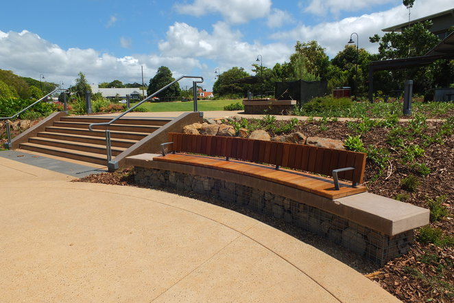 Buderim Village Park, King Street, Gloucester Road, Buderim, wide paths, ferny gardens, volcanic rock, views of the Pacific Ocean, views of Caloundra and Little Mountain, fig trees, sheltered picnic areas, new barbecues, night lighting, seating
