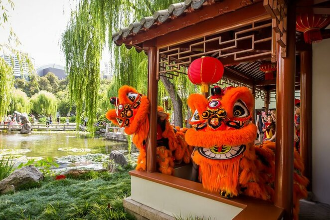 Chinese Garden of Friendship, Lunar New Year, lion dance