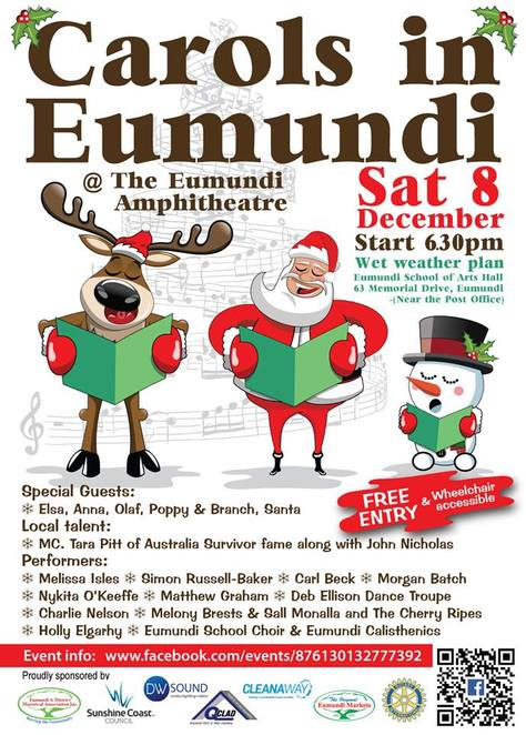Christmas Celebrations in Eumundi, Fabulous Foodie Fare, food from around the world, foodie-lovers, Eumundi Community Christmas Carols, Eumundi Amphitheatre, DooWop Dolls, Santa, laser show, wheelchair accessible, Eumundi Christmas Night Market, FREE Christmas cookie decorating, FREE balloon twisting, FREE face painting, Little Critters Petting Zoo, Coastal Snow Globes, make your own candles, bookmark the dates