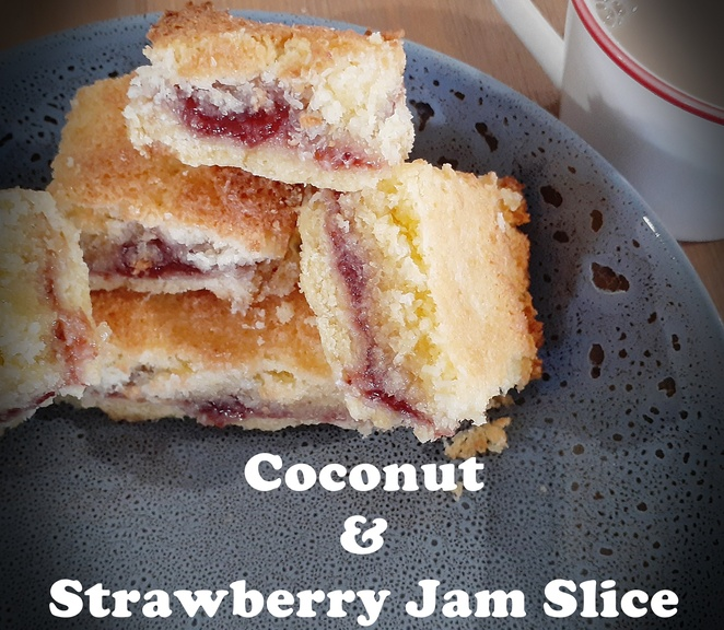 coconut and strawberry jam slice, coconut, strawberry, slice, recipe, slice recipes, australia, desiccated coconut, strawberry jam, slices, family, kids, fetes, school fetes, guests, baking, baked goods,