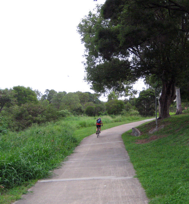 Cyclist on the Downfall Creek Cycleway