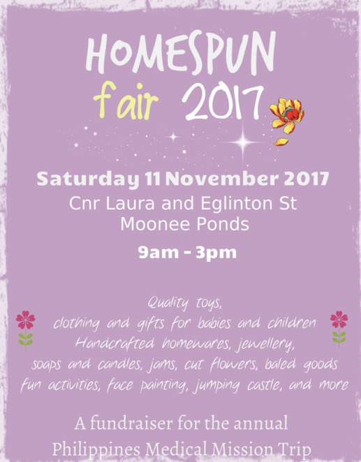 homespun fair 2017, fundraiser, charity, community event, fun things to do, market stalls, moonee ponds baptist church, local fair, fun for kids, kids activities, philippines medical mission, handcrafted goods, quality toys, clothing, jewellery, homewares, soaps, candles, jumping castle, face painting, baled goods