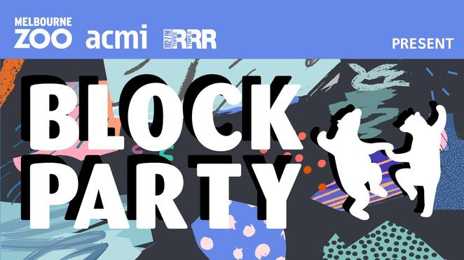 melbourne zoo block party 2018, community event, fun things to do, zoos victoria, melbourne zoo, acmi, triple r, 3rrr 102.7fm, animals dancing, music,b ands, dj, big screen visuals, lawn games, carousel rides, street food, beverages, outdoor wildlife, photography exhibition, national geographic, block the road to extinction, threatened species, animal rights