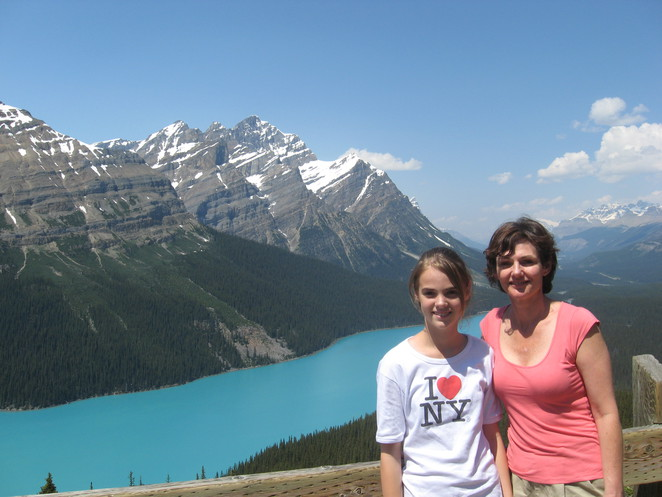 Mother and daughter hike