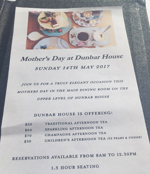 Mothers Day Dunbar House Watsons Bay