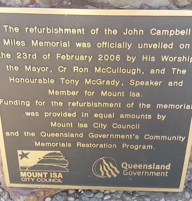 Mount Isa, John Campbell Miles, memorial, outback, mining town