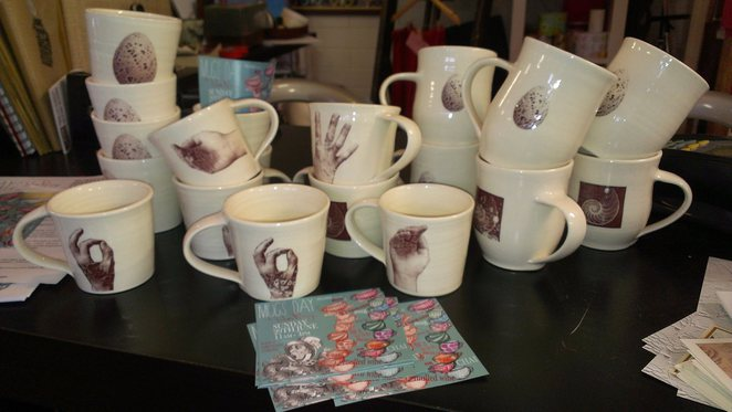 mugs, pottery, ceramics, Milan rouge