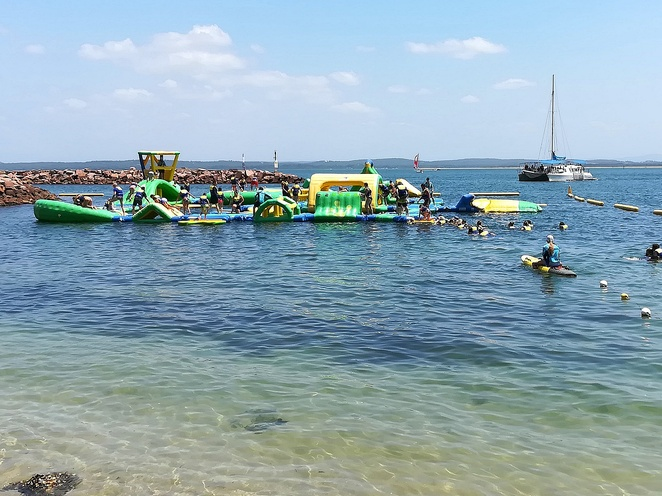nelson bay, inflatable water park, port stephens, summer, school holidays, things to do, water sports, water activities, tourist attractions, kids, family, children, family friendly, NSW, port stephens attractions,