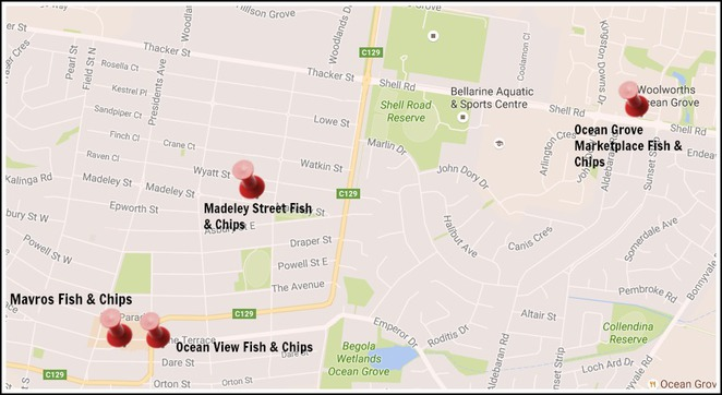 Ocean Grove, Mavros, Ocean View, Marketplace, Madeley street, fish and chips, seafood, takeaway