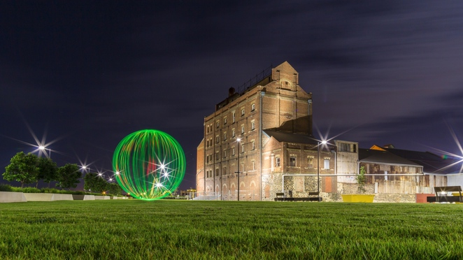 smith and collins, ball of light, light painting workshops, light painting, z ward, flour shed, workshops, in adelaide, harts mill, historic port adelaide
