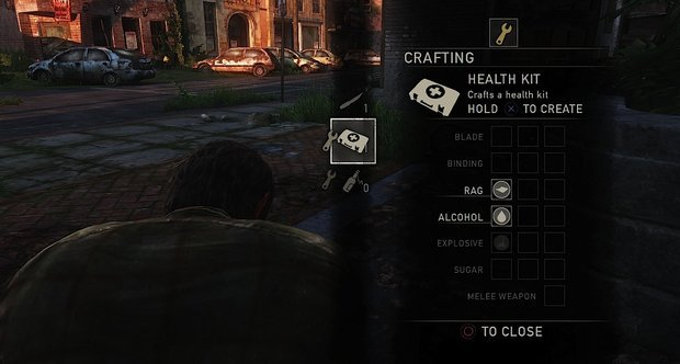 Creating a health kit with supplies found during the game