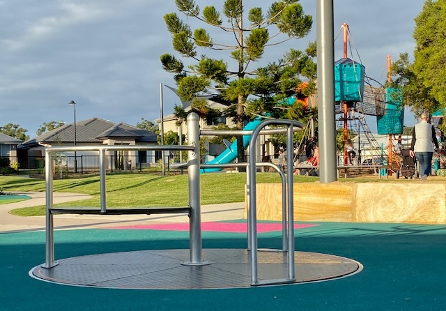 Spinning equipment is a big hit with kids as they transition between the playground and picnic areas