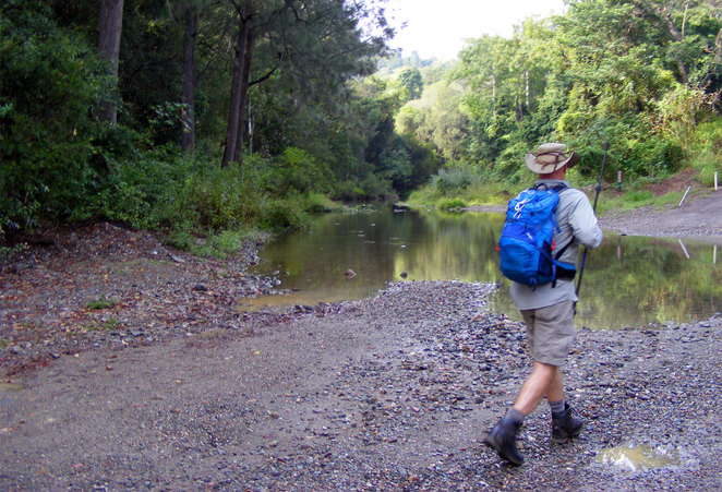 Walking in across the creeks to the start of the hike