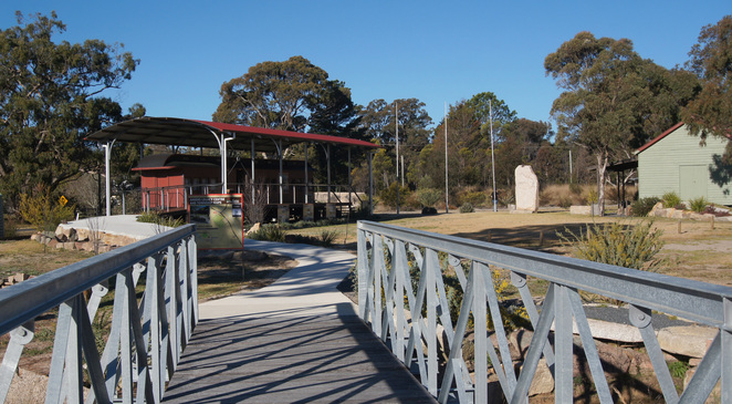 The train carriage, bailey bridge, sculptor & shed