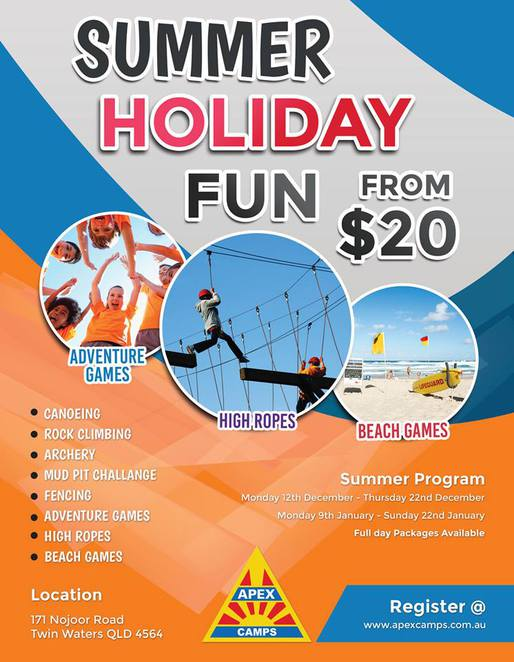 Apex Summer Holiday Programmes, Mudjimba, outdoor adventures, Twin Waters, canoeing, rock climbing, archery, mud pit challenge, fencing, adventure games, high ropes, beach games, age 5 to 15 years of age