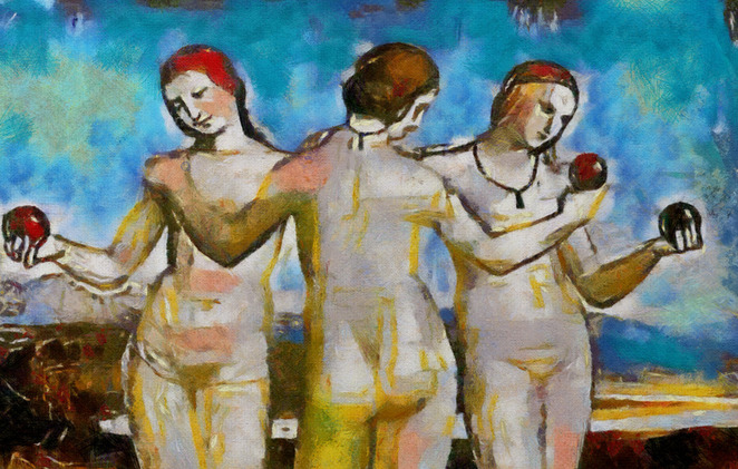 Image by Hare Krishna of The Three Graces By Raphael, Circa 1971.