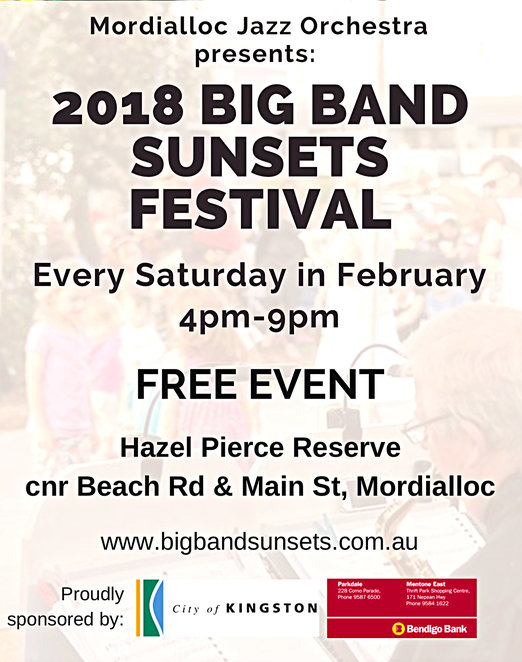 big band sunsets festival 2018, hazel pierce reserve, mordialloc, community event, fun things to do, music, mojo, the mordialloc jazz orchestra, swing groups, big bands, school bands, musicians, entertainment, musos