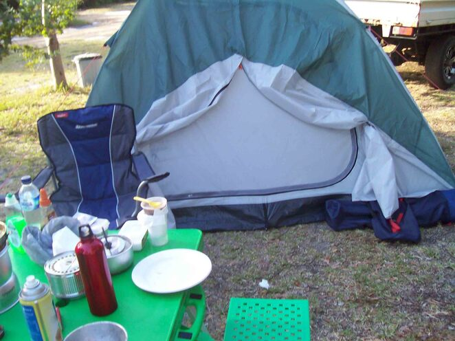 camping with kids tent nature spring