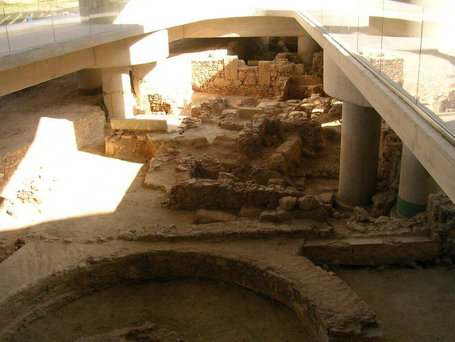 Entrance into the Acropolis Museum where archaeologists are still excavating around the area, underground city under Athens