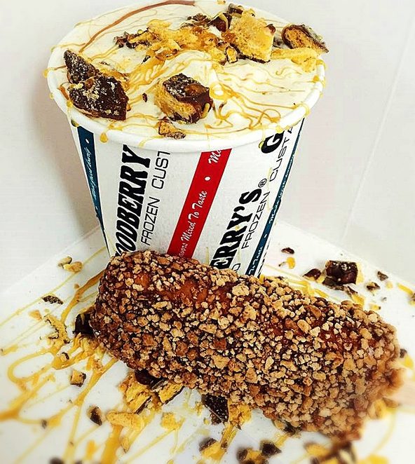 Golden Goodtime concrete - creamy vanilla frozen custard, butterscotch fudge, & crunchy choc honeycomb biscuit pieces. Source: Goodberry's Facebook, goodberrys frozen custard, erindale, belconnen, canberra, ACT, ice cream,