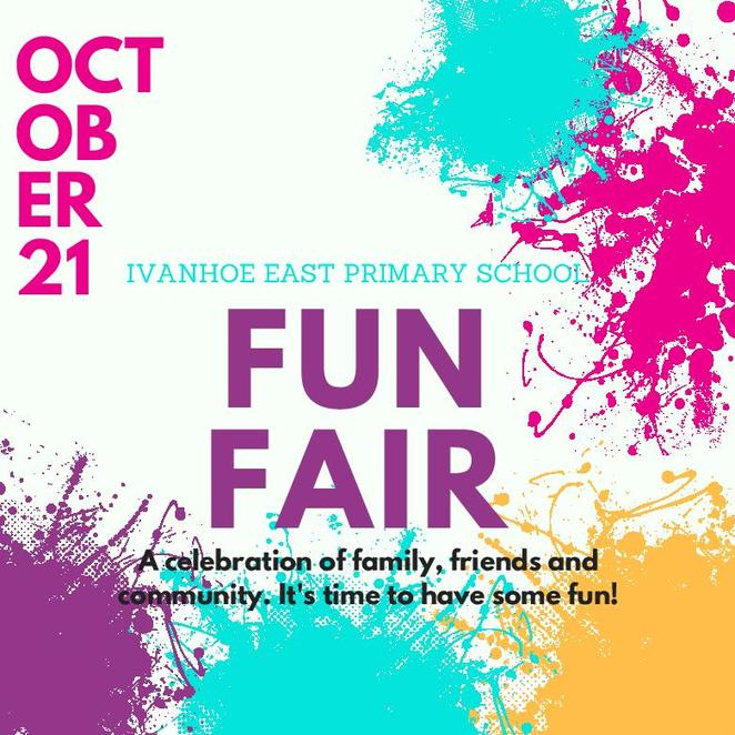 ivanhoe east primary school's fun fair, ieps, fair, fun things to do, community event, fun for kids, fair rides, food vans, entertainment, home made produce, market village, side show alley, premium raffle draw