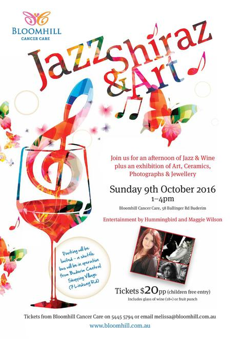Jazz, Shiraz and Art, lazy laid-back Sunday, Art, Ceramics, Photographs, Jewellery, Bloomhill Cancer Care, Charity, Hummingbird, Maggie Wilson, children free entry, $20 per person includes glass of wine or fruit punch, Buderim, Shuttle Bus, donations