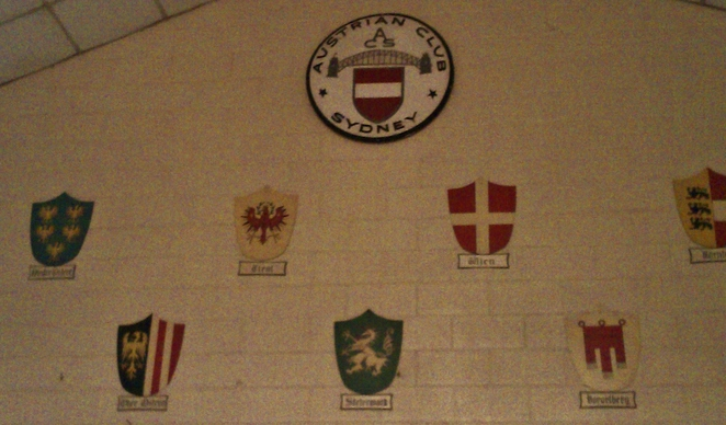 Plaques on wall of Austria
