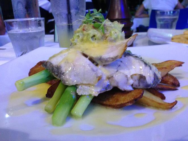 raw prawn, seafood, restaurant, cairns, culinary, fish, barramundi, avocado, salsa, fresh, asparagus, potato, dish, dinner