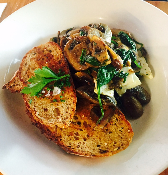 tuck shop cafe, sautéed mushrooms and spinach
