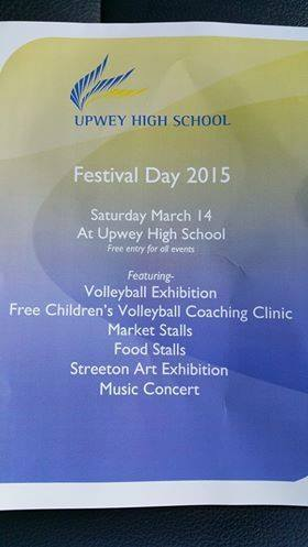upwey high school, festival day, volleyball exhibition, coaching clinic, market stalls, food stalls, streeton art exhibition, music concert, food, entertainment