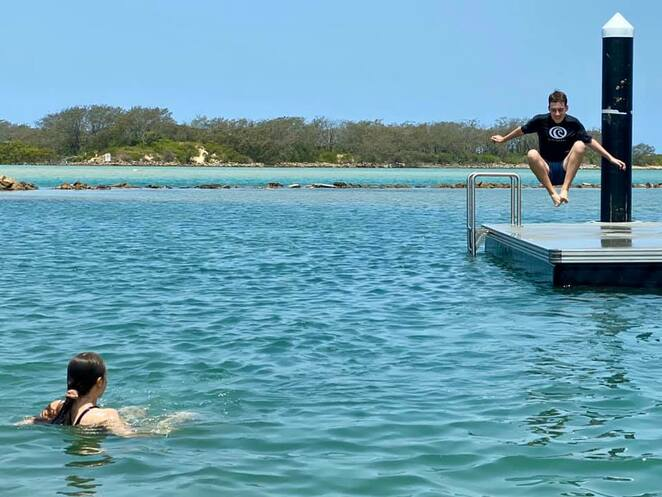 Just when it seemed Urunga Lagoon couldn't get any better - they installed platforms in the swimming area!