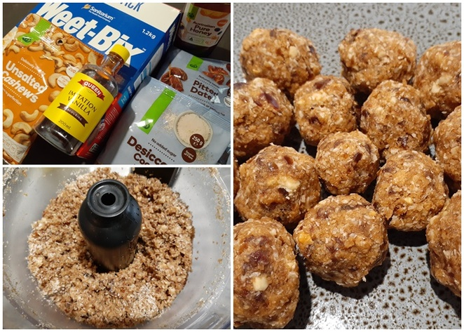 weetbix protein balls, desiccated coconut, dates, cashews, honey, balls, protein balls, recipes, easy, healthy, family, kids, australia,