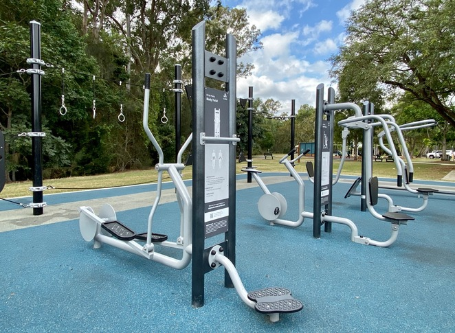 Whether you're into weights or cardio, this outdoor gym has it all!