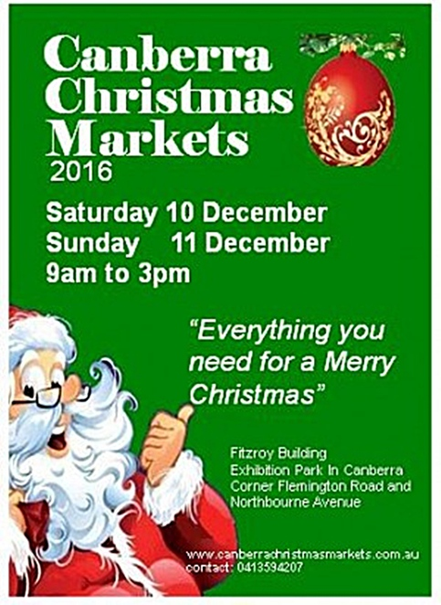 canberra christmas markets, ACT, 2016, christmas events, canberra, ACt, 2016