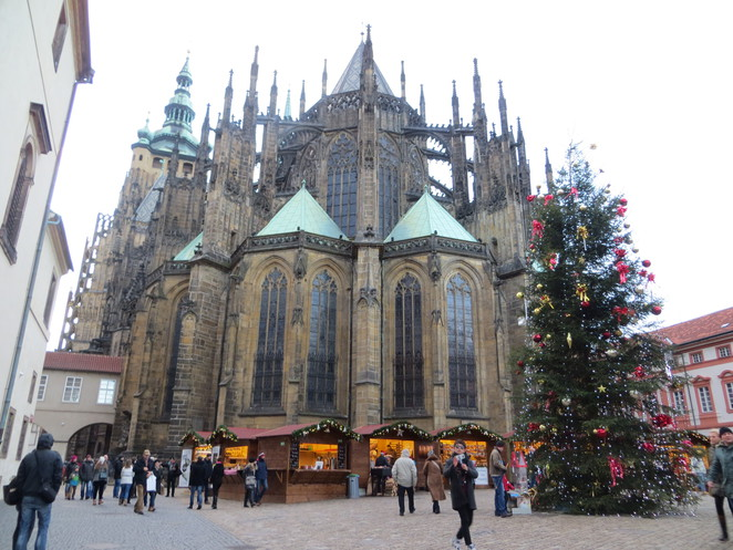 christmas, market, prague, castle, cathedral